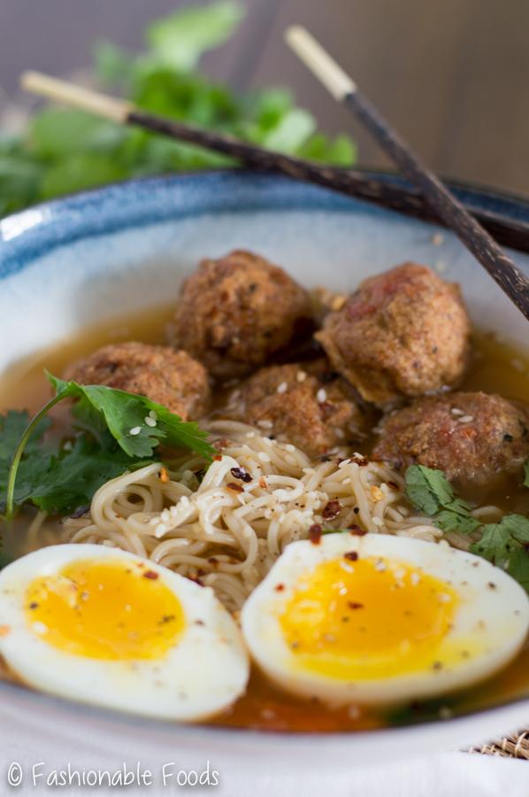 Spicy Miso Ramen With Turkey Meatballs