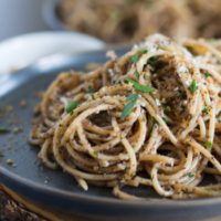 Olive Tapenade Pasta with Crispy Breadcrumbs