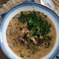 Creamy Vegan Mushroom and Wild Rice Soup