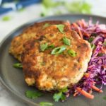 Asian Style Salmon Burgers with Spicy Red Cabbage Slaw