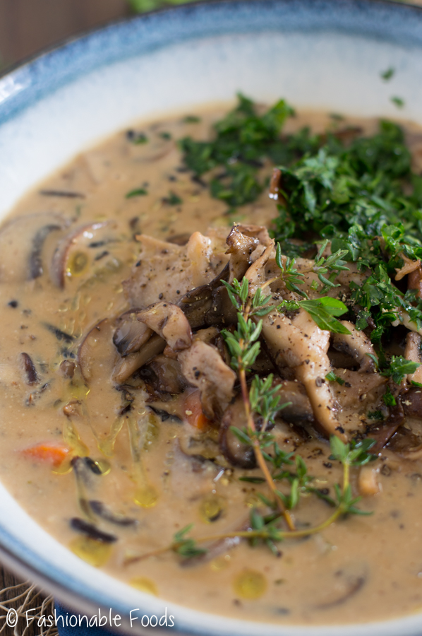 Creamy Vegan Mushroom and Wild Rice Soup