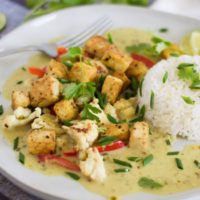 Green Curry with Crispy Tofu and Roasted Cauliflower