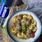 Tortellini and Meatball Soup with Walnut Arugula Pesto