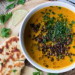 Vegan Roasted Carrot Soup with Crispy Lentils