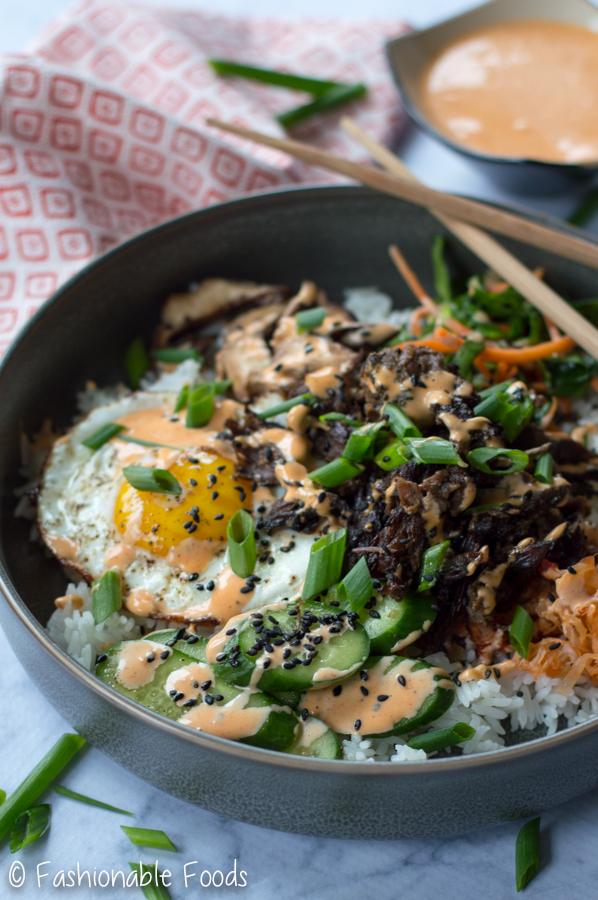 Korean Style Mixed Rice Bowls Bibimbap Fashionable Foods