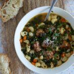 Kale Noodle Soup with Sausage Meatballs
